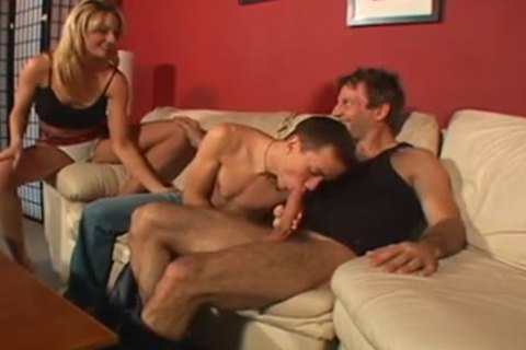 filthy ambisexual Male+Male+Female on The sofa