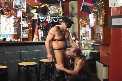 those Two large boyz Wearing Leather have a joy yummy Sex At The Bar