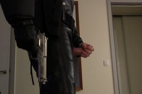 Leather Cop: Full Leather Play, Jerk, & goo