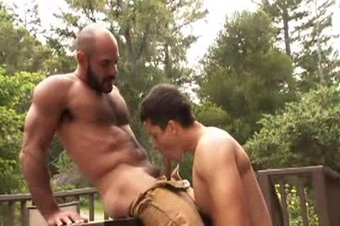hirsute Muscle Bald Bear pokes Jay Roberts
