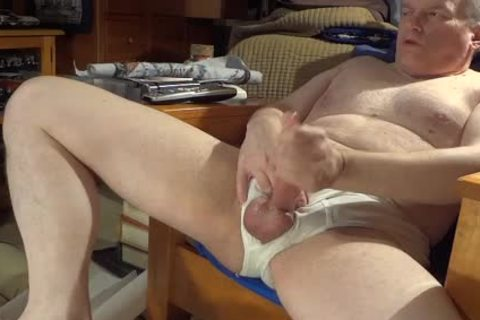 stroking In White Briefs With fascinating sex spooge flow