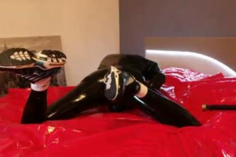 young jerking off In darksome Latex pretty Very Very large jock