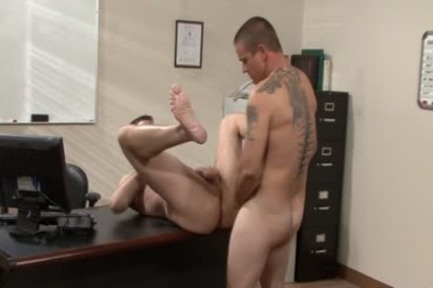 Tattooed homosexual guys drilling In The Office