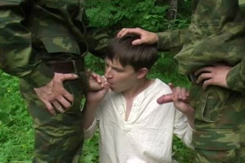 Two Military males receive blowjob From A young legal age teenager
