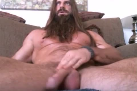long Haired And Bearded Muscle lad Solo