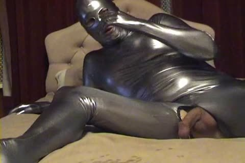 Silver Spandex Catsuit - dildo, jack off And sperm Zentai