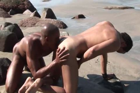black chap gets fucked In The pooper Oin A Beach