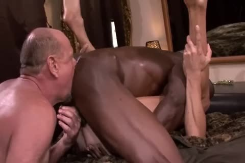 Interracial daddy three-some