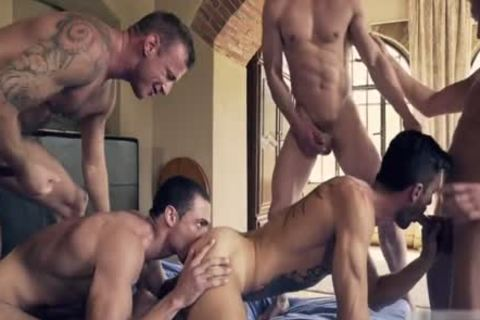 charming homosexual DP With cumshot