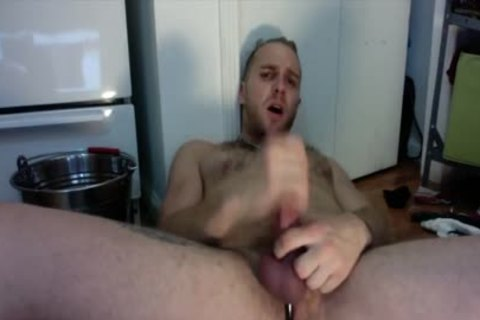 hot lad Strokes His dick And Fingers His pooper In The Kitchen