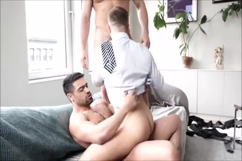 Three hirsute Suited Muscle twinks raw And Breed