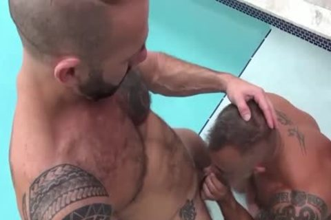 beefy pumped up Bear Sex By The Garden Pool