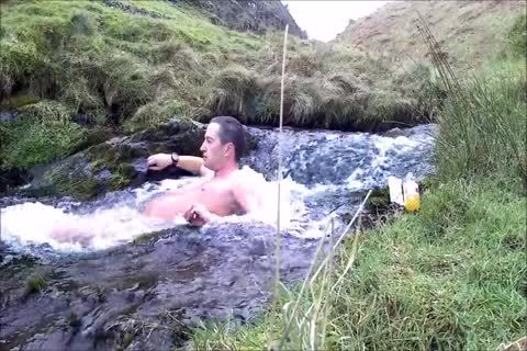 Half Hour bare Dip In Cold Scottish Waterfall In Winter