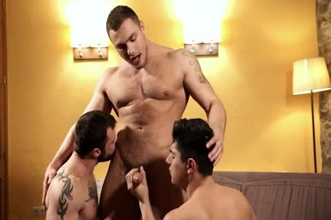 two brawny men And A twink plowing bare And Using toys
