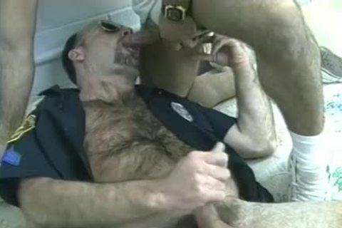 hairy Cop's Furry Chest Is came On After Threeway engulf