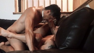 Pierre Fitch gets banged bare On A Leather sofa - American Lovemaking