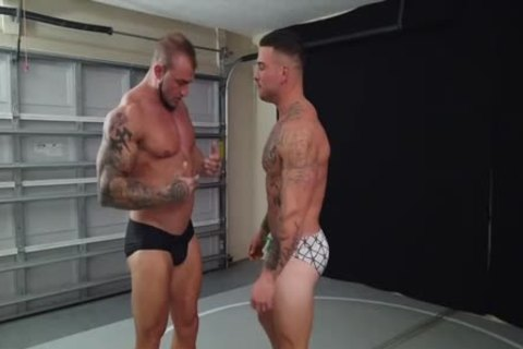 Tattooed Muscle twinks Wrestling
