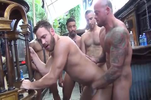 MusclePup Logan Moore receives group gangbanged Barebacked nail