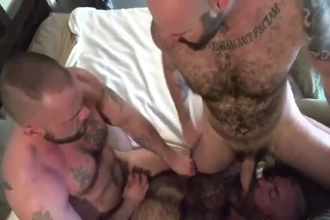 3 hairy Bears, two Hard dongs, 1 cum Filled darksome hole