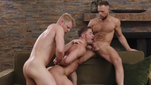 IconMale: American uncle Logan Stevens blowjob cum indoor