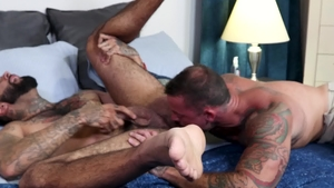 Men Over 30 - Sean Duran among brunette Rikk York kissing