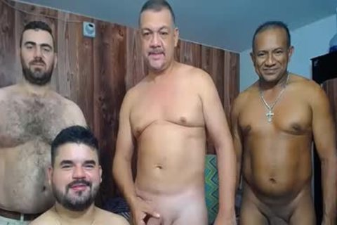 A bunch Of daddy men stroking And Showing Off Their rods